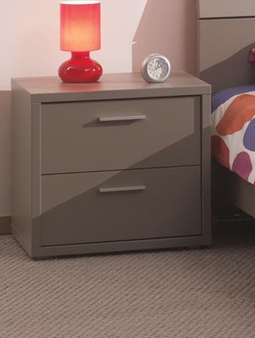 Chevet 2 tiroirs contemporain coloris basalte gris Donna