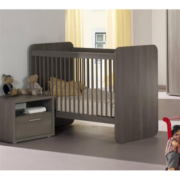 Lit bébé évolutif contemporain bouleau gris Luciane