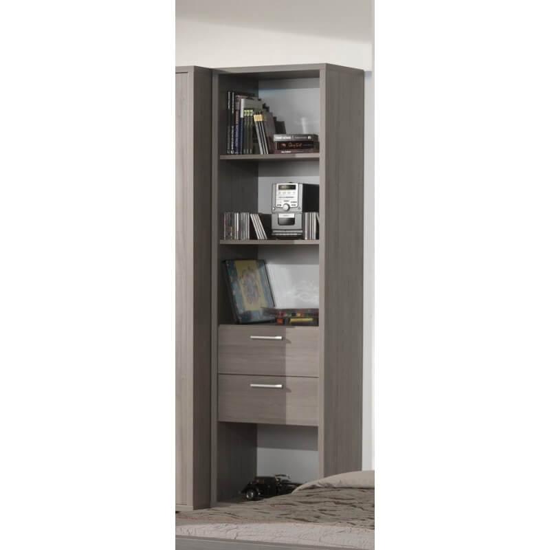 biblioth que contemporaine coloris bouleau gris luca. Black Bedroom Furniture Sets. Home Design Ideas