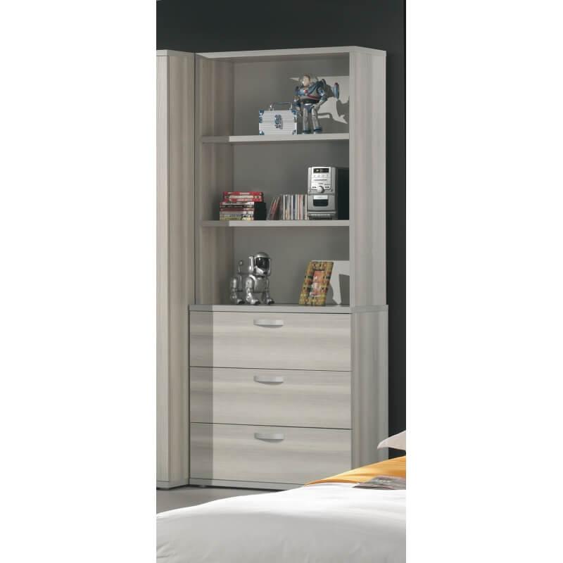 biblioth que contemporaine fr ne gris anna. Black Bedroom Furniture Sets. Home Design Ideas