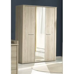 Armoire contemporaine 3 portes avec miroir chêne clair Fanny