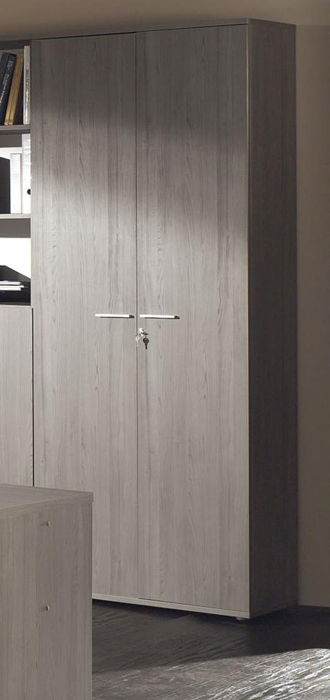 Armoire de bureau 2 portes contemporaine coloris bouleau gris Alrun