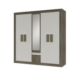 Armoire contemporaine 5 portes chêne truffier/blanc Phillis