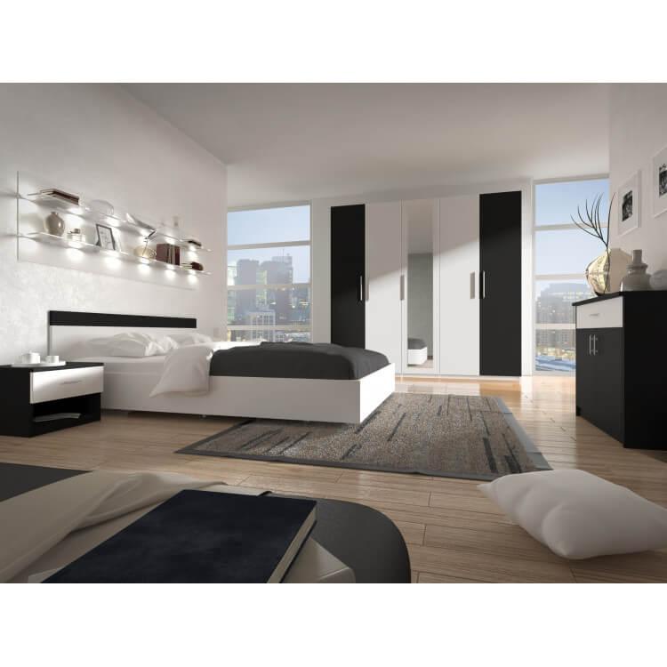 Chambre adulte design coloris blanc/noir Louana