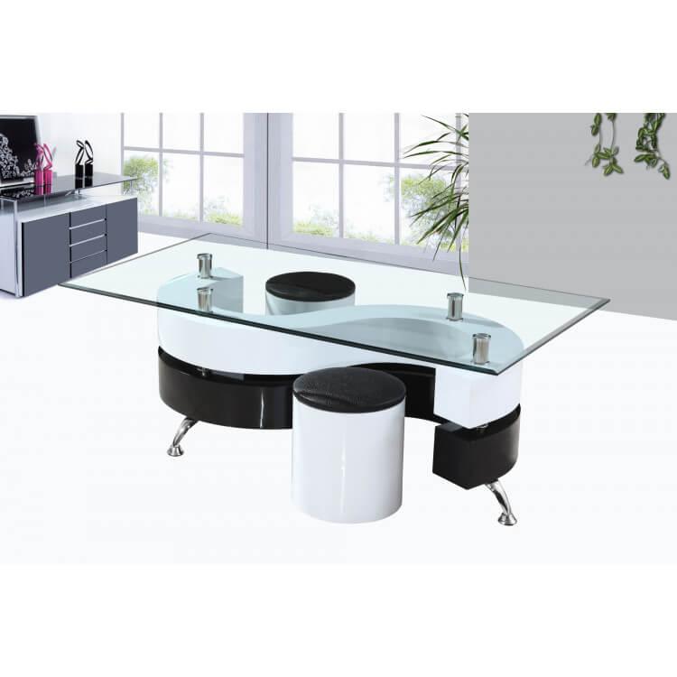 Table Basse Design En Verre Laquee Blanche Et Noire Avec Poufs Elyane