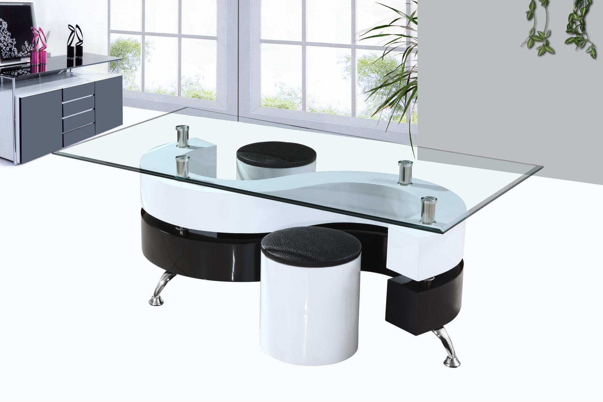 Table Basse Design En Verre Laquée Blanche Et Noire Avec Poufs Elyane