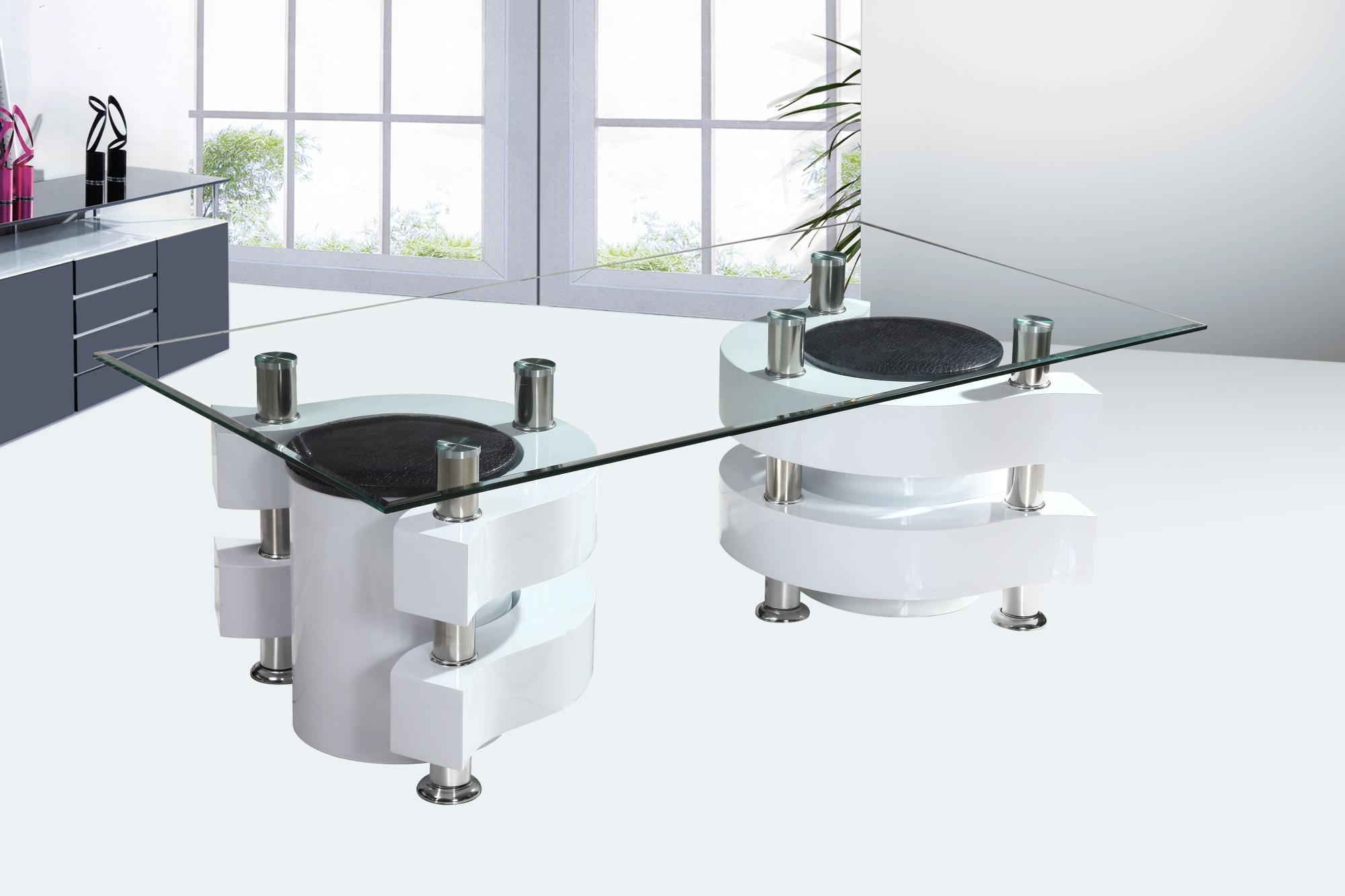 Blanche Table Avec Design Laquée Poufs En Basse Verre Florie Lc3Rj54Aq