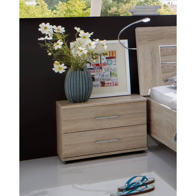 Chevet contemporain 2 tiroirs (lot de 2) coloris chêne clair Madox