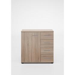 Commode contemporaine 1 porte/4 tiroirs coloris chêne clair Madox