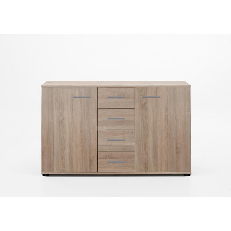 Commode contemporaine 2 portes/4 tiroirs coloris chêne clair Madox
