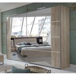 Armoire contemporaine portes coulissantes coloris chêne clair Madox