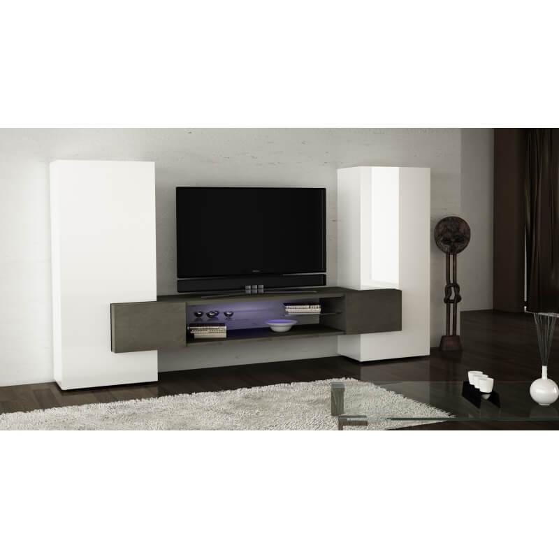 composition murale design laqu e blanche marbre ahita. Black Bedroom Furniture Sets. Home Design Ideas