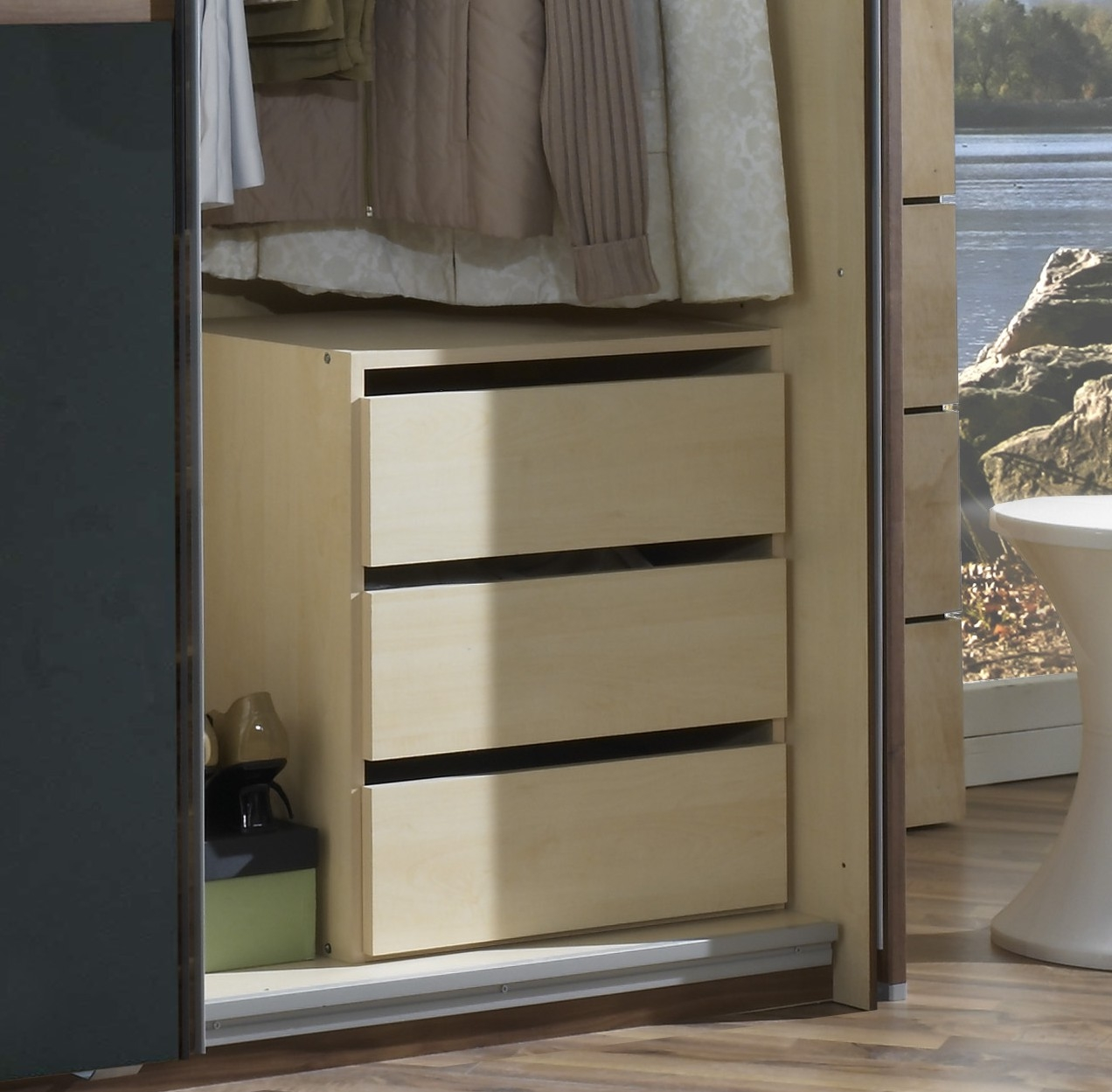 Bloc de 3 tiroirs intérieurs pour armoire Madox