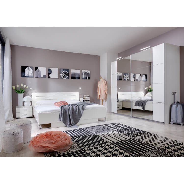 Chambre adulte complète design coloris blanc alpin Mavrick II