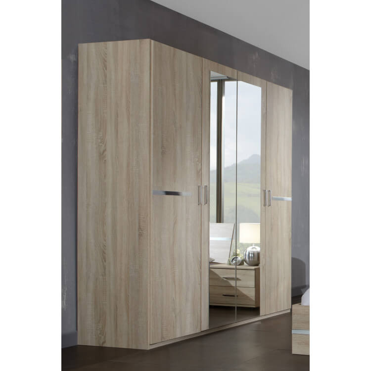 Armoire contemporaine 4 portes 180 cm chêne/chrome brillant Anabelle