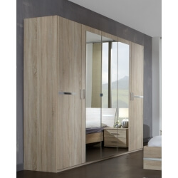 Armoire contemporaine 5 portes 225 cm chêne/chrome brillant Anabelle