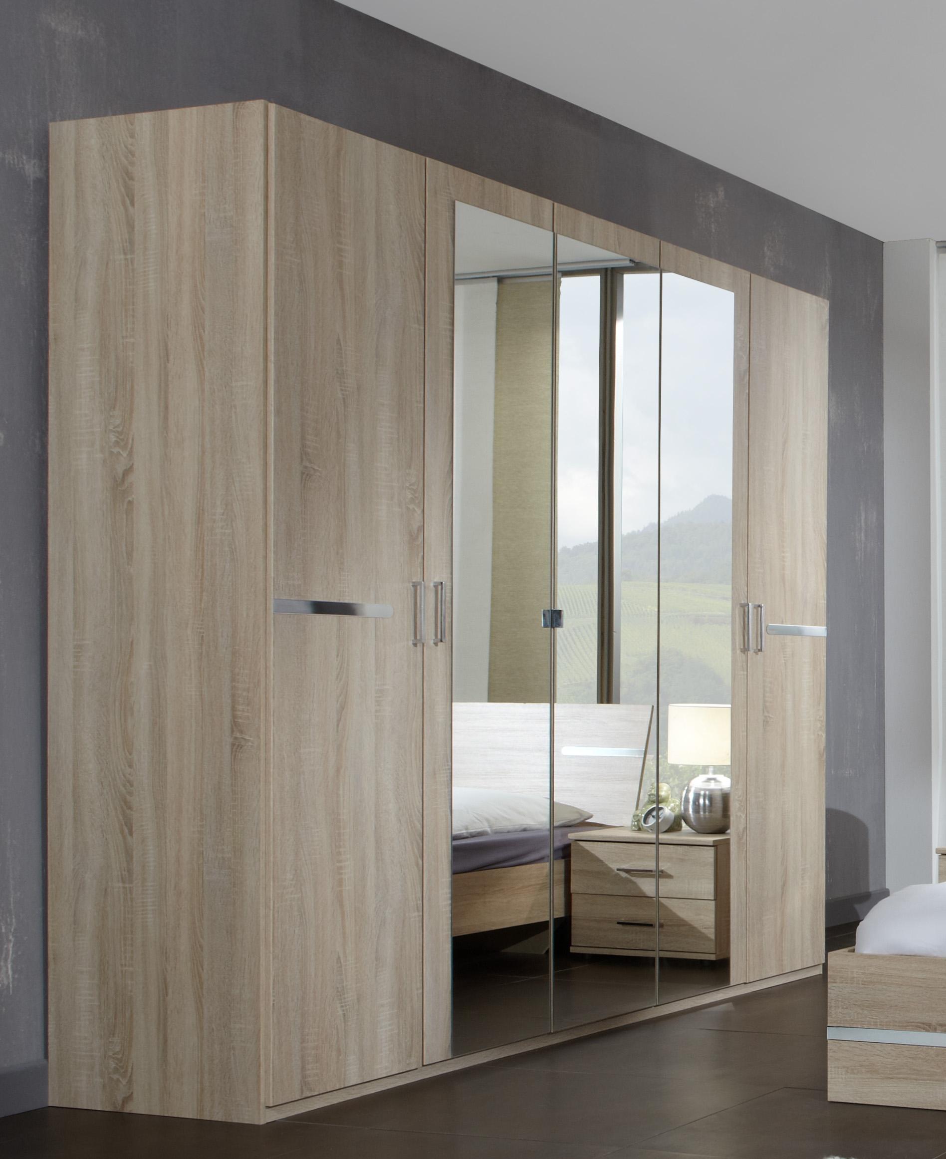 Armoire contemporaine 5 portes 225 cm chêne/chrome brillant Anabelle