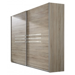 Armoire contemporaine portes coulissantes 225 cm chêne/chrome brillant Anabelle