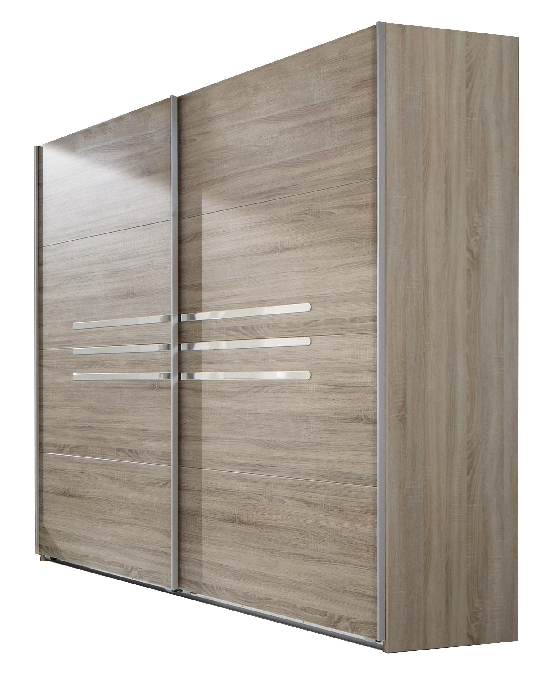 Armoire contemporaine portes coulissantes 225 cm chêne/chrome brillant Anabelle