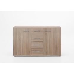 Commode contemporaine 2 portes/4 tiroirs coloris chêne Anabelle