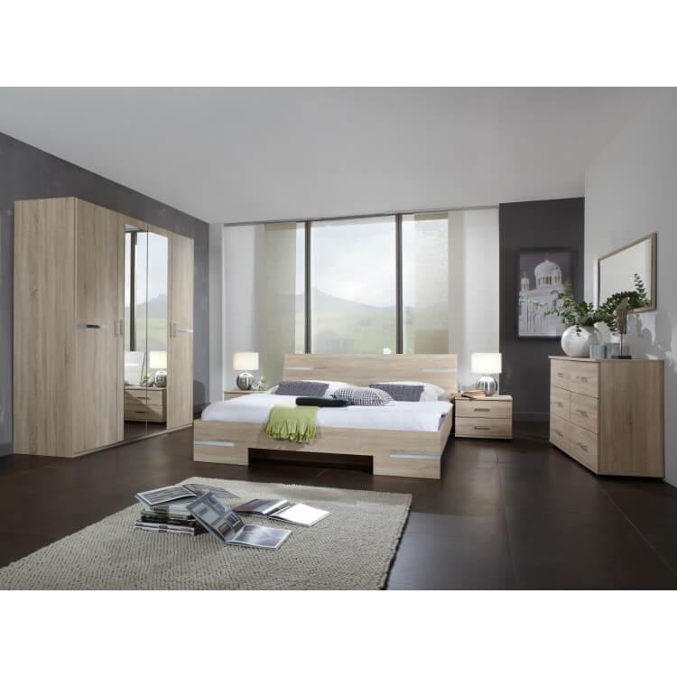 Chambre adulte complète contemporaine chêne/chrome brillant Anabelle