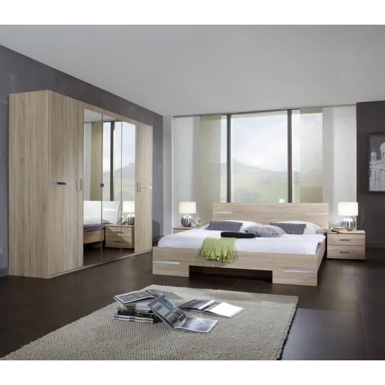 Chambre adulte complète contemporaine chêne/chrome brillant Anabelle II