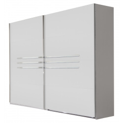 Armoire design portes coulissantes 225 cm blanc alpin/chrome brillant Bella