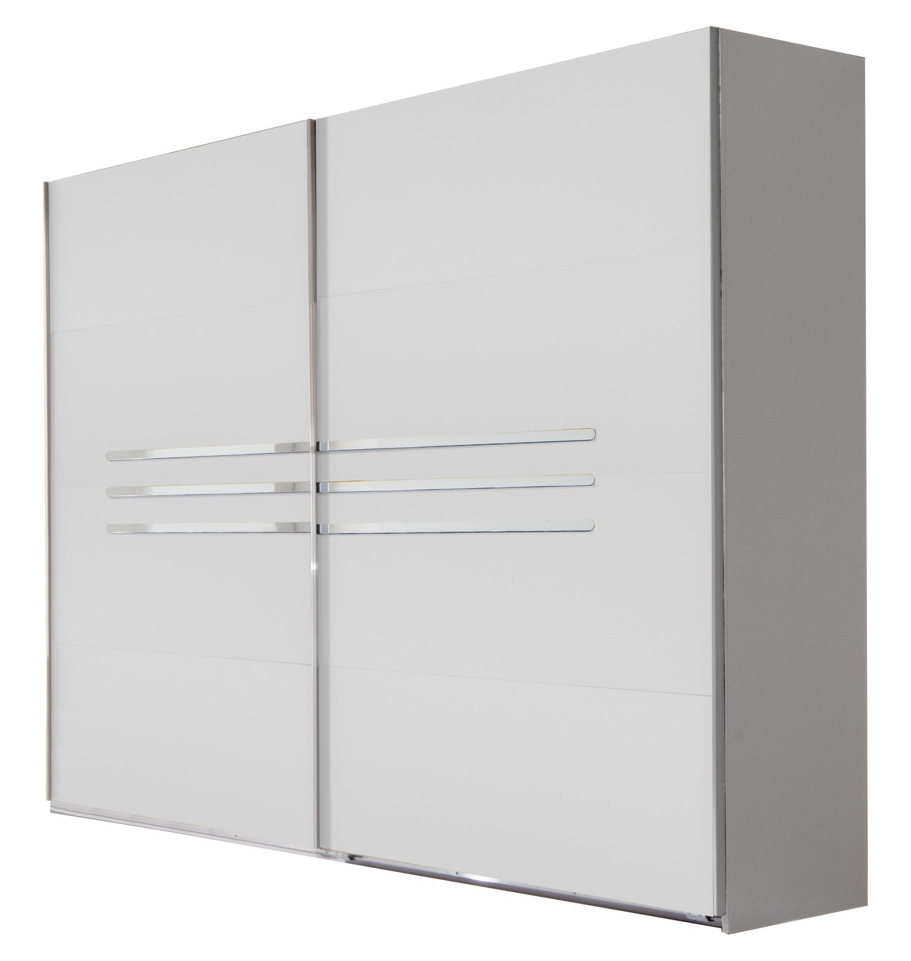 Armoire design portes coulissantes 225 cm blanc alpin/chrome brillant Bella