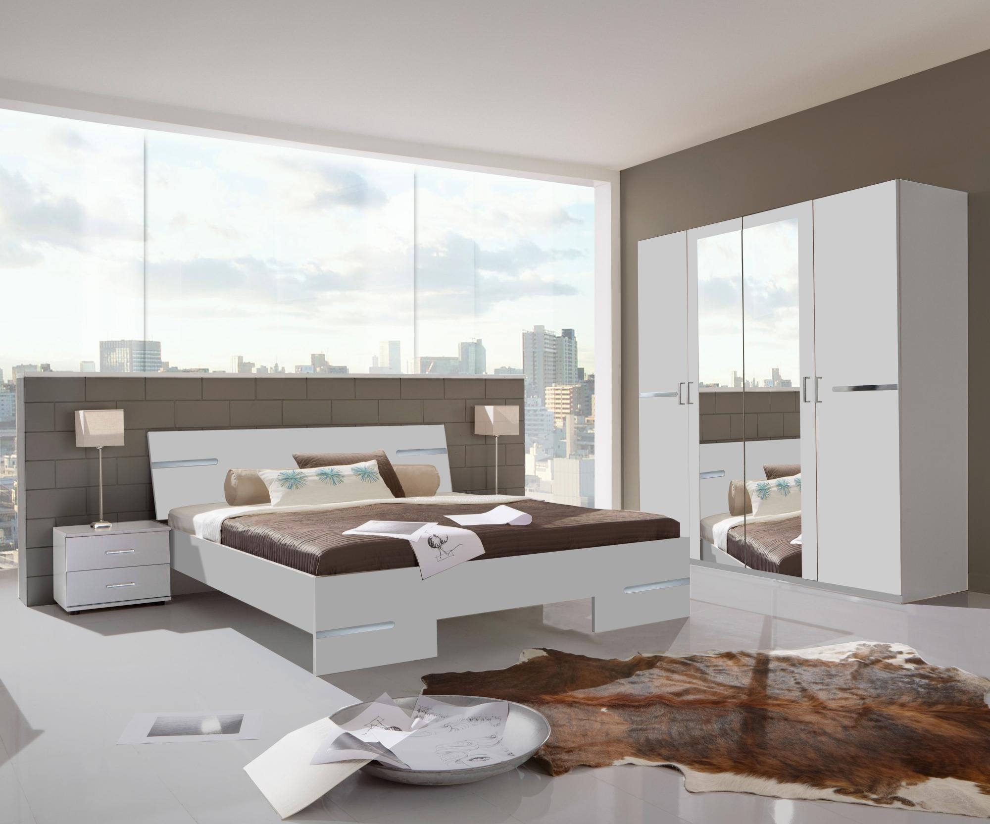Chambre adulte complète design blanc alpin/chrome brillant Bella