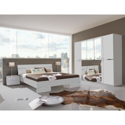 Chambre adulte complète design blanc alpin/chrome brillant Bella II