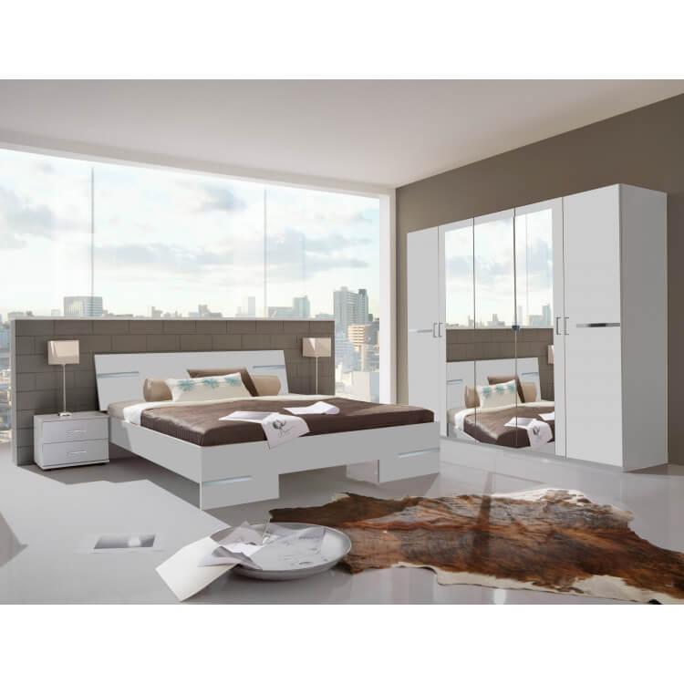 Chambre adulte complète design blanc alpin/chrome brillant Bella II