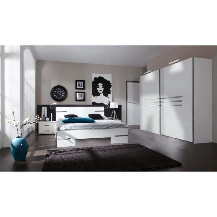Chambre adulte complète design blanc alpin/chrome brillant Bella III