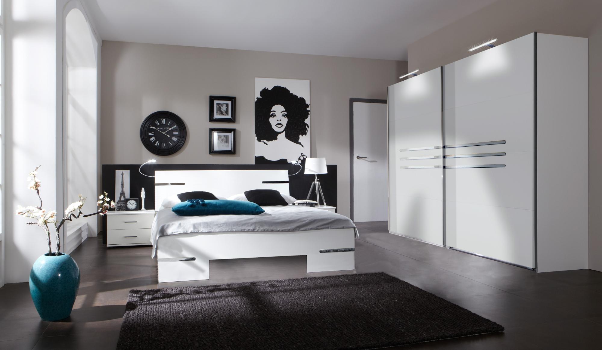 Chambre adulte complète design blanc alpin/chrome brillant Bella III