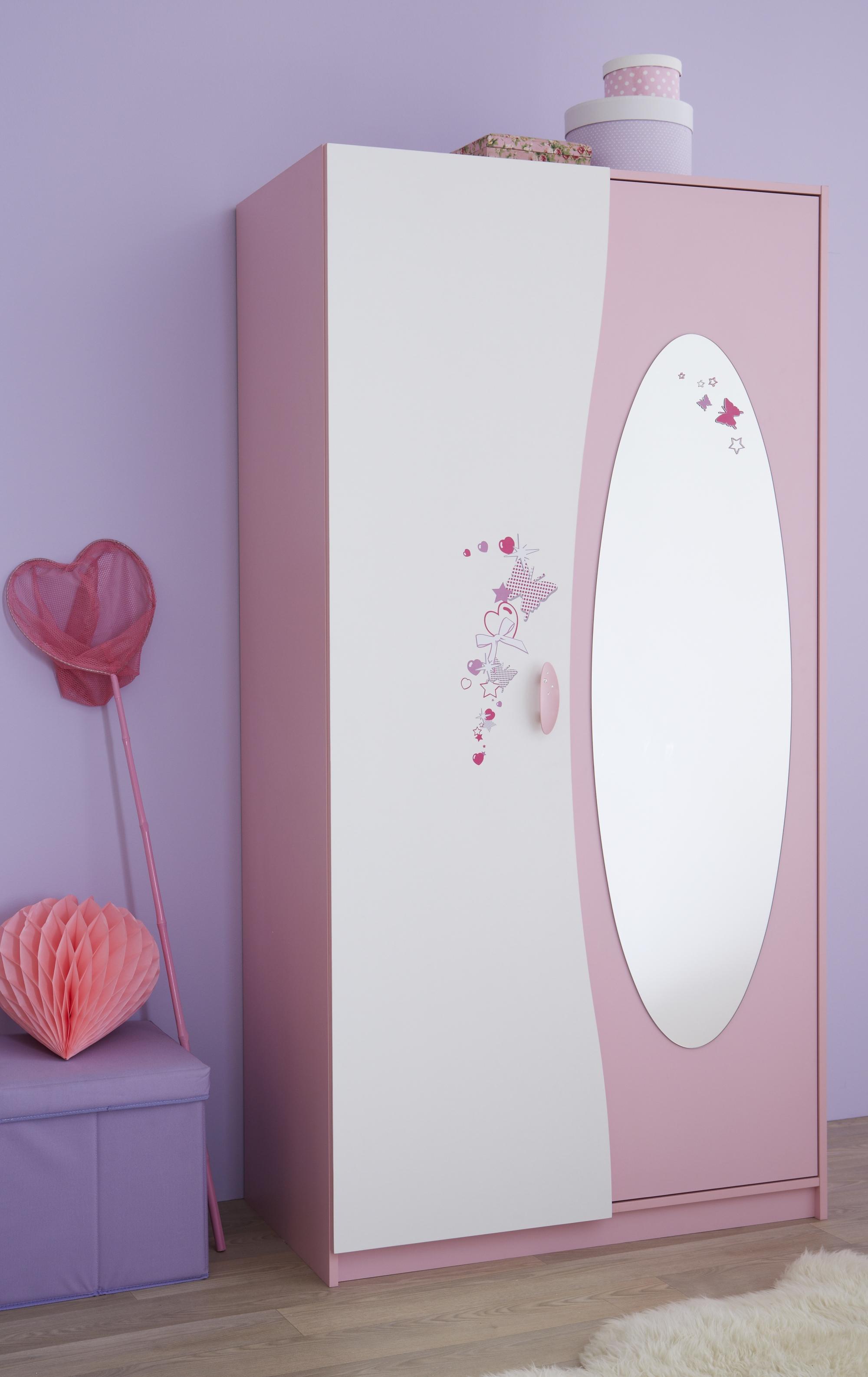 Armoire enfant contemporaine 2 portes blanche et rose Melusine