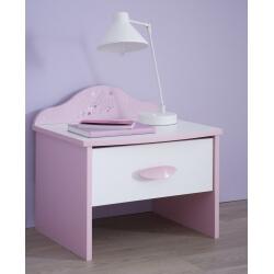 Chevet enfant contemporain 1 tiroir blanc et rose Melusine