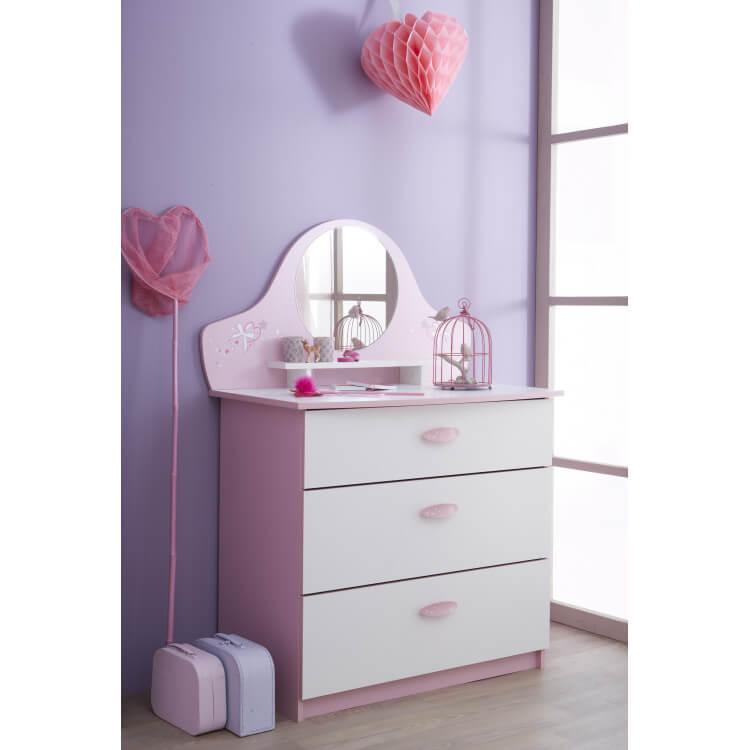 Commode enfant contemporaine 3 tiroirs avec miroir blanche et rose Melusine