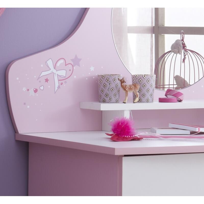 Commode enfant contemporaine 3 tiroirs avec miroir blanche et rose melusine matelpro for Commode avec miroir
