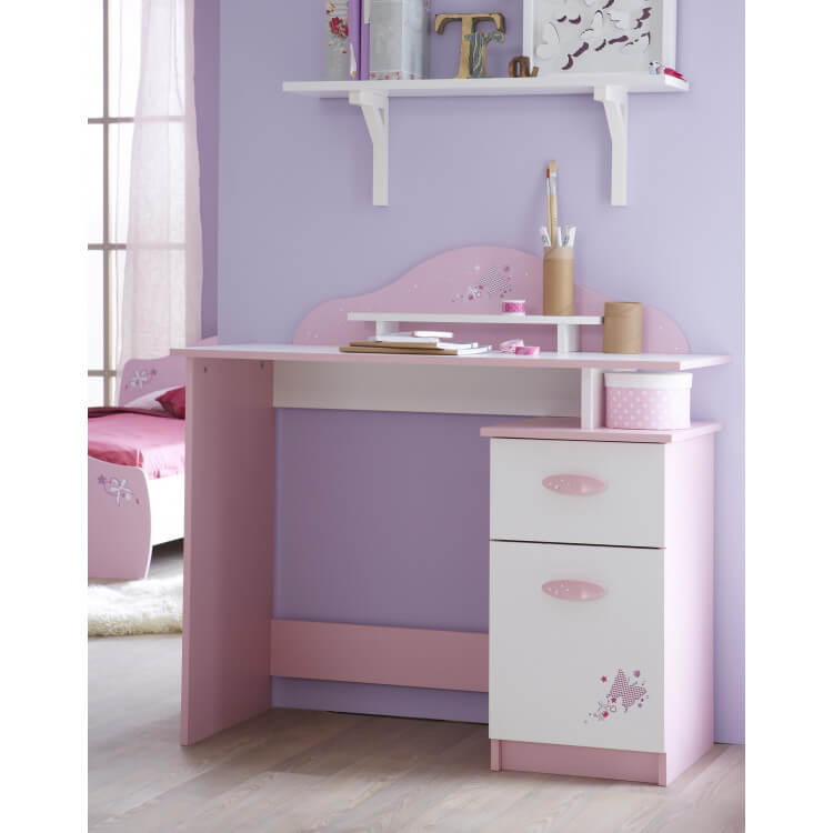 Bureau enfant contemporain rose et blanc Mélusine