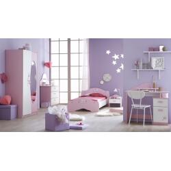 Chambre enfant complète contemporaine blanche et rose Melusine