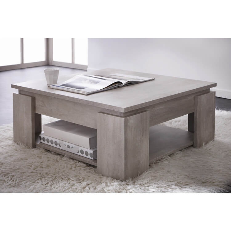 Table basse contemporaine chêne champagne Guerda