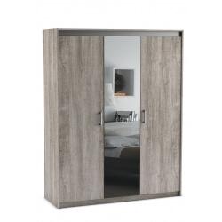 Armoire contemporaine 3 portes avec miroir chêne prata Sherazade