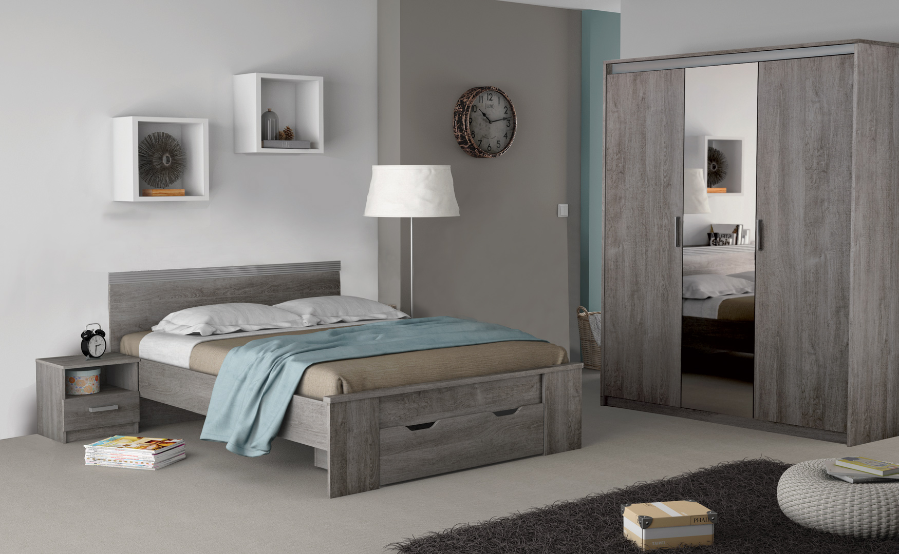 chambre adulte compl te contemporaine ch ne prata sherazade matelpro. Black Bedroom Furniture Sets. Home Design Ideas
