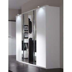 Armoire design 4 portes blanc alpin/chrome brillant Mavrick