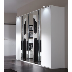 Armoire design 5 portes blanc alpin/chrome brillant Mavrick