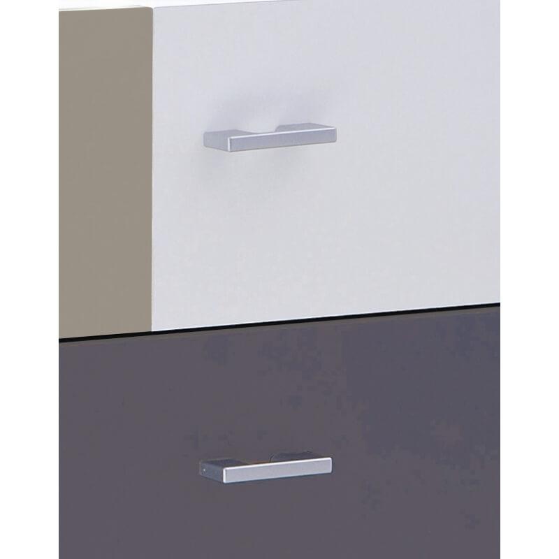 commode contemporaine 3 tiroirs blanche et grise lucinda. Black Bedroom Furniture Sets. Home Design Ideas