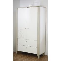 Armoire 2 portes/2 tiroirs contemporaine blanche/marron clair Ted