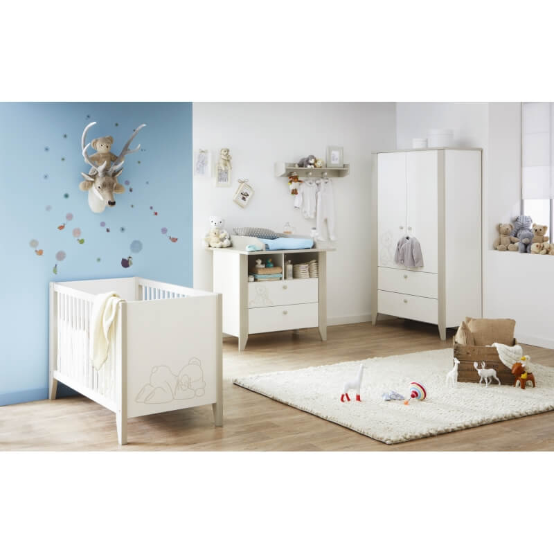 chambre b b contemporaine blanche marron clair ted matelpro. Black Bedroom Furniture Sets. Home Design Ideas
