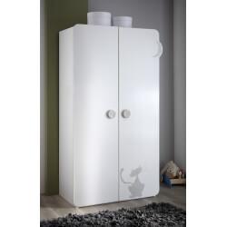 Armoire 2 portes contemporaine blanche Mistie