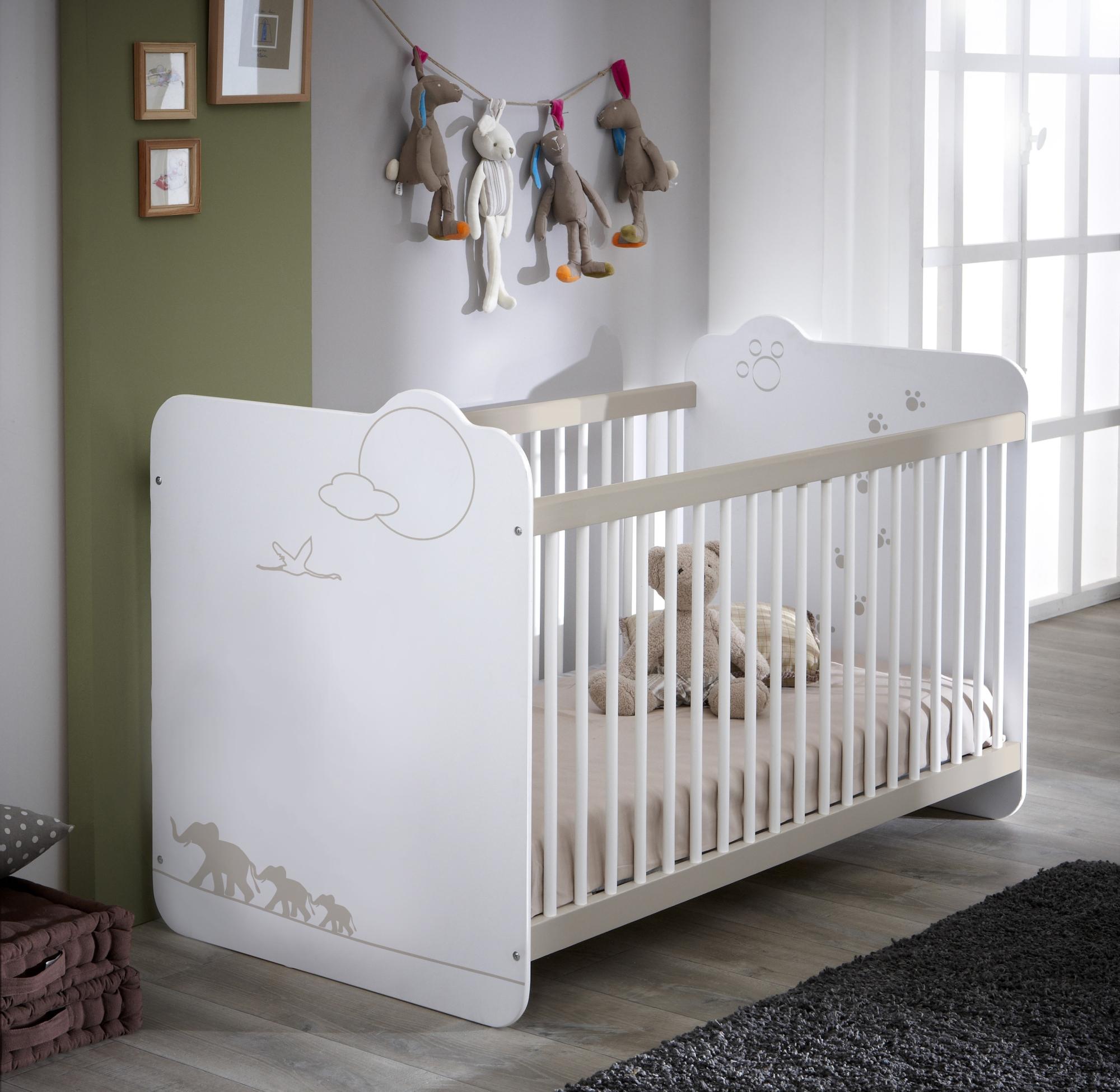 Lit bébé à barreaux contemporain blanc Woody