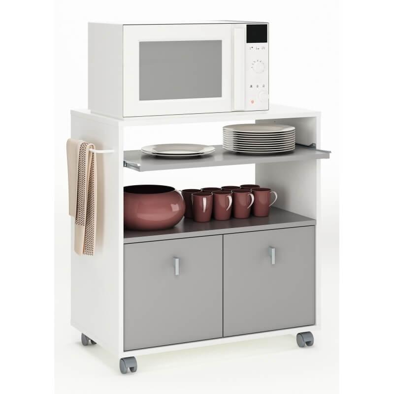 desserte de cuisine contemporaine sur roulettes blanche basalte ari ge. Black Bedroom Furniture Sets. Home Design Ideas